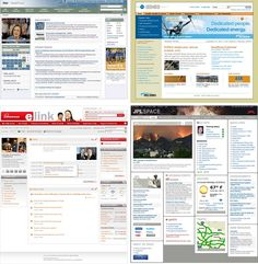 Homepages of 4 Intranet Design Annual winners. Top row: Huron Consulting Group and Enbridge. Bottom row: SCANA Corp. and Jet Propulsion Laboratory (JPL)