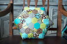 Turquoise Lime Gray and Brown Hexagon Accent by ErinLynnDesigns, $40.00
