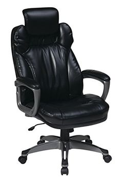 Office Star Executive Eco Leather Chair with Padded Arms, Adjustable Headrest, and Titanium Coated Frame, Black |