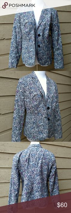NWOT Talbots Petites Blazer NWOT Talbots petites floral blazer size 12P. Black, pink, white, and blue. Great conditon, never worn.  Light padding in shoulders. Two front buttons, three buttons on wrist. Two faux front pockets.  Inside lining blue and red. Back slit. 20 inch bust. 24 inch arms. 25 inch length. Material: Shell 100% cotton, lining 100% polyester. Talbots Jackets & Coats Blazers