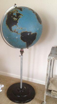 (*** I got mine at a school surplus sale. World Globe Map, World Globes, Map Globe, Vintage Globe, Vintage Maps, Vintage Antiques, Aviation Theme, Globe Crafts, World View