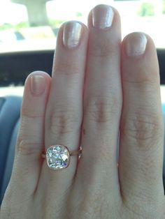 Rose gold antique cushion diamond ring