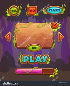 Cartoon Wooden Game User Interface, Vector Assets For Mobile Gui Design On Forest Background - 359562488 : Shutterstock
