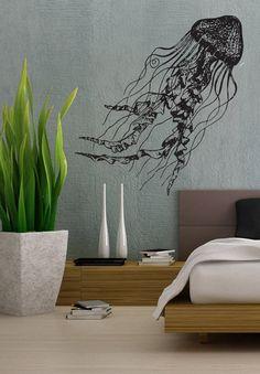 Jellyfish Deep Sea Ocean - uBer Decals Wall Decal Vinyl Decor Art Sticker Removable Mural Modern A850