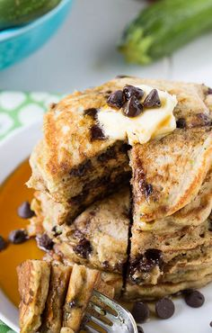 Chocolate Chip Zucchini Bread Pancakes. With warm spices (cinnamon and nutmeg), plus some brown sugar, these pancakes have the flavor of a loaf of zucchini bread fresh from the oven.