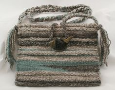 """Tide Pools"" hand woven tapestry purse using my hand spun wool yarns."