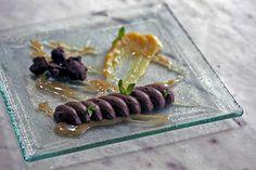 Chocolate mousse with caramel sauce, sable 'cocoa and banana jam Paparouna Wine Restaurant & Cocktail Bar | Chocolate mousse with caramel sauce, sable 'cocoa and banana jam.