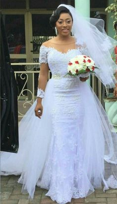 Charming African Detachable Train Wedding Dresses Plus Size Illusion Long Sleeves Sheer Neck Cheap Wedding Reception Dress Bridal Gown Cheap Off The Shoulder Mermaid Wedding [. African Wedding Dress, Wedding Dress Train, Amazing Wedding Dress, Lace Mermaid Wedding Dress, Elegant Wedding Dress, African Lace Dresses, Modest Wedding, Wedding Dresses Plus Size, Dream Wedding Dresses