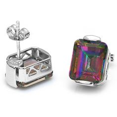 Emerald Cut Natural Rainbow Fire Mystic Topaz Earrings Stud Only $33.69 => Save up to 60% and Free Shipping => Order Now! #Bracelets #Mystic Topaz #Earrings #Clip Earrings #Emerald #Necklaces #Rings #Stud Earrings