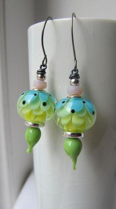 lampwork bead earrings
