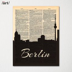 Berlin Germany City Skyline Dictionary Art Print / Cityscape Poster / Travel Art Decor