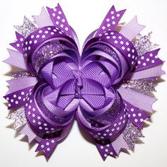 "4"" Purple Lavender Glitter Polka Dots Stacked Boutique Hair Bow"