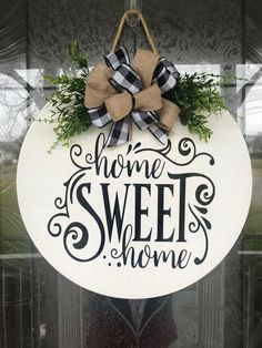 Door Hanger Home Sweet Home Sign Front Door Decor Wood Door image 5 Welcome Signs Front Door, Front Door Decor, Front Doors, Front Door Wreaths, Welcome Wood Sign, Summer Door Wreaths, Winter Wreaths, Spring Wreaths, Holiday Wreaths