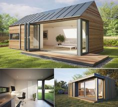 Like the wide open doors. Would need eaves tho. Modern eco-friendly garden office. https://www.quick-garden.co.uk/log-cabins.html