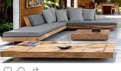 Low furniture, lounge , beautiful wood, chunky wood - All For Garden Deck Seating, Outdoor Seating, Outdoor Sofa, Outdoor Decor, Balcony Furniture, Pallet Furniture, Living Room Furniture, Outdoor Furniture, Rustic Furniture