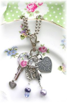 Vintage Key Lavender Patina Shabby Chic Puffy Heart Charm I Love You Glass Beads Locks Victorian Glove Hand Charm Necklace OOAK <3 <3 <3
