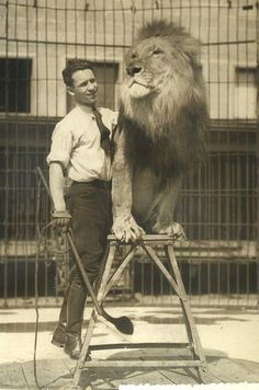 Clyde Beatty. I watched him perform when I was a kid. He was a real old fashioned lion tamer. Before the day sod Gunther Gebel-Williams who showed the big cats as tamed.