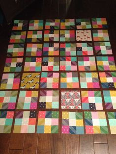 Cotton and Steel 9-patch quilt in progress