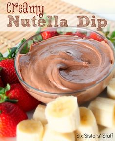 Ceamy Nutella Dip Recipe ~ Six Sisters' Stuff Ingredients: 1/2 cup Nutella 4 ounces fat free cream cheese 1/2 cup Cool Whip Directions: In a large bowl, mix all ingredients together until smooth. Refrigerate until serving. Serve with fresh fruit, graham crackers, brownie bites, etc.
