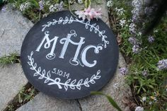 round monogram sign- free gift for wedding inspired by invitation