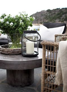 Flowers and candle to create a nice outdoorsy environment