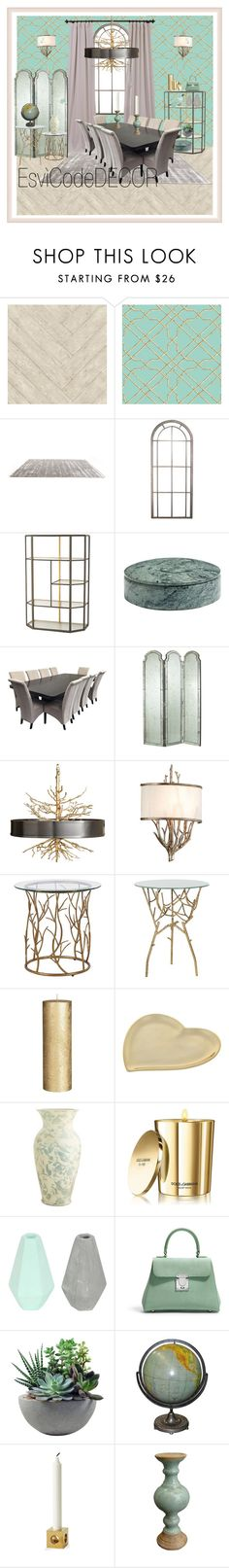 """""""Dining"""" by silvia-esvicode on Polyvore featuring interior, interiors, interior design, Casa, home decor, interior decorating, Andrew Martin, York Wallcoverings, ELK Lighting e Wrong for Hay"""