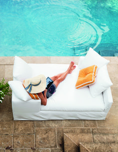 Relax by the pool in this comfortable and casual chic Outdoor Double Chaise by Lee Industries. #sunbed #chaise #poolside #patio #interiordesign