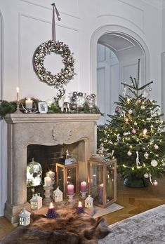 """Shop the Look - styles to fall in love with - This is how the look works: """"Cozy Country Christmas"""": Lots of candles and a large, richly decorated - Christmas Fireplace, Christmas Mantels, Christmas Mood, Country Christmas, All Things Christmas, Xmas, Christmas Candle Decorations, Decorating With Christmas Lights, Holiday Decor"""