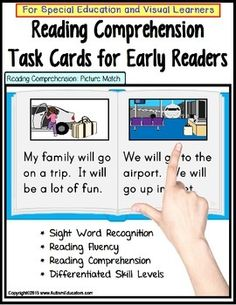 Reading Comprehension LARGE Task Cards for Special Education/AutismThis jam-packed 40 card set of Reading Comprehension Task Cards for Special Education/Autism includes differentiated reading levels, but is intended for early readers, or those in the process of learning sight words and C-V-C word development.