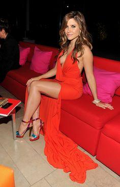 Sophia Bush legs and cleavage in a revealing low cut side split dress and high heels