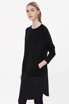 Dress with merino wool top