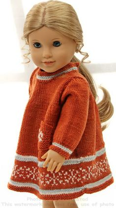 Doll knitting patterns - Fall Fashion for your doll, in rust, gray and white