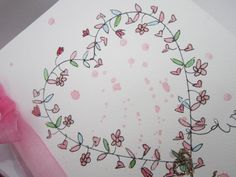 Heart of Flowers a large hand drawn and hand painted original watercolour card, very special for Mothers Day or for Mums birthday. This card is blank inside for your own message. Made from quality watercolour paper with a blank insert, a light raspberry pink organza ribbon and glitter