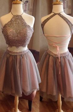 Exquisite Two pieces Homecoming Dresses,Open Back Homecoming Dresses,Halter Blush Lace Homecoming Dresses