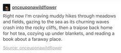 Hikes through meadows, gazing at the sea, hot tea, cozy blankets.