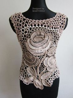 Ivory Cream Crochet Top, Irish Crochet, Freeform Crochet, Lace Crochet Top ,Lace…