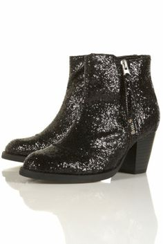 New TOPSHOP MIGHTY glitter ankle boots UK 4 in Black