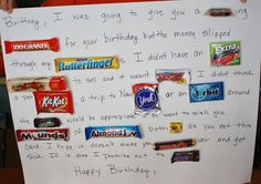Handmade Birthday Gifts For Dad From Daughter. Birthday Card With Candy Bars