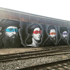 Mural Featuring Teenage Mutant Ninja Turtles as the Renaissance Painters They Were Name After