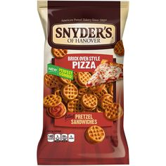 """Snyder's Brick Oven style Pizza filled Pretzel sandwich's uses Zesty Pizza flavored cheese that is """"sandwiched"""" between two bite size pretzel snaps. They are delicious for grown ups and kids. Pretzel Pizza, Gourmet Recipes, Baking Recipes, Snack Recipes, Snacks, Pretzel Brands, Hanover Pretzels, Snyder's Of Hanover"""