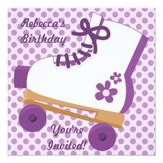 Roller Skate Birthday Invitations Purple Dots Roller Skate Birthday Party Invitation