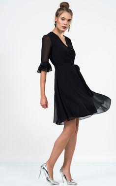 3/4 Sleeve Wrap Dress Black - SilkFred