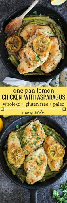 One Pan Lemon Chicken with braised asparagus in a simple lemon mustard sauce. Gluten Free + Whole 30 + Paleo Option One Pan Lemon Chicken with braised asparagus in a simple lemon mustard sauce. Gluten Free + Whole 30 + Paleo Option Paleo Whole 30, Whole 30 Diet, Whole 30 Recipes, Whole 30 Chicken Recipes, Paleo Recipes, Real Food Recipes, Cooking Recipes, Food Tips, Whole30 Recipes Chicken