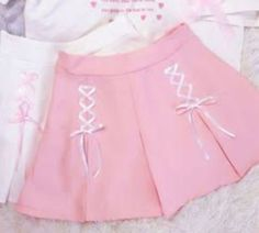3 Colors Twin Ribbons Pastel Girl Skirt from CutieKill Baby Frocks Designs, Kids Frocks Design, Little Girl Dresses, Girls Dresses, Kids Dress Patterns, Kids Outfits, Cute Outfits, Kawaii Clothes, Kawaii Fashion