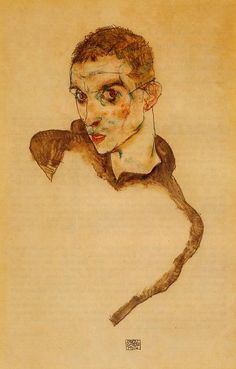 "Egon Schiele (1890, Tulln - 1918, Vienna), ""Autoritratto"" / ""Self-portrait"", 1914, Acquerello e matita su carta / Watercolor and pencil on paper, 42.2 x 33.9 cm, Collezione privata / Private Collection"