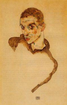 """Egon Schiele (1890, Tulln - 1918, Vienna), """"Autoritratto"""" / """"Self-portrait"""", 1914, Acquerello e matita su carta / Watercolor and pencil on paper, 42.2 x 33.9 cm, Collezione privata / Private Collection"""