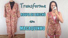 Macaquinho feito com roupa de brechó - Diy Macacão - Suellen Redesign