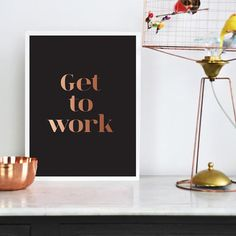 Get To Work Poster Wall Decor Minimal Art Nature by LovelyPosters