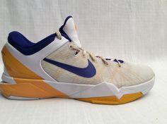 MEN NIKE ZOOM KOBE 7 VII LAKERS BASKETBALL SHOES SIZE 10.5 WHITE CONCORD  #Nike #AthleticShoes