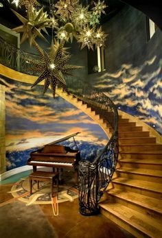 moderne treppen wanddeko ornamentenreich klavier